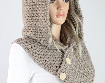 Crochet Hooded Cowl Pattern #35 - Geneva Hooded Scarf Pattern with buttons - Crochet Cowl PATTERN - Digital Download - Not a Physical Scarf!