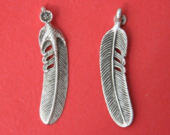 7/4 MADE in EUROPE large feather pendant, silver feather pendant (X4294AS) Qty1