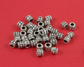 MADE  in EUROPE 10 silver beads, silver tube beads, silver spacer beads, zamak tube beads (X1470AS) Qty10