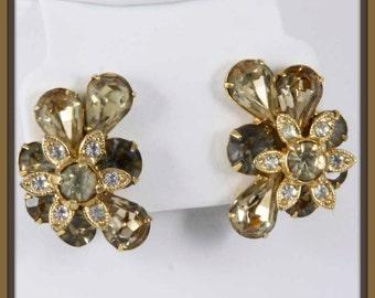Vintage Eisenberg Ice Earrings,Vintage Rhinestone Earrings,Vintage Earrings,Vintage Clip-On Earrings,Vintage Eisenberg Earrings,Eisenberg