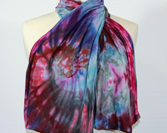 Tie dyed rayon jersey infinity scarf