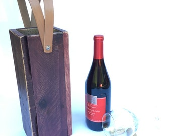 Wood Wine Tote | Reclaimed Wood Tote | Wine Carrier | Wooden Gift Idea | Leather