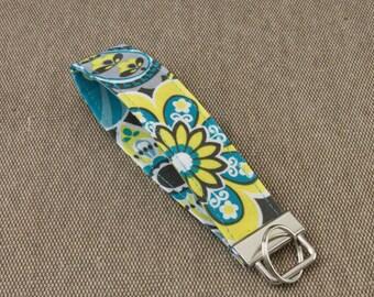 Yellow & Blue Floral Key Fob / Key chain / Wristlet / Key Ring