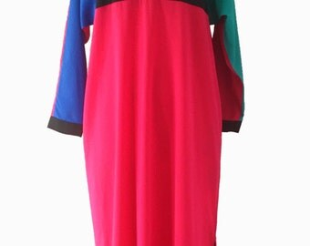 1980s Dress - Oscar de la Renta Dress - 80s Dress - Color Block Dress for a Modern Muse - Size Small