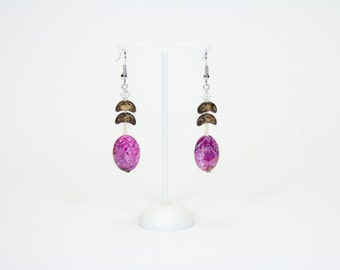 Ethnic earrings pink agate and coconut