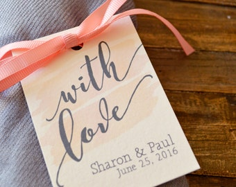 Favor Tags - Personalized for Weddings and Events - With Love, Watercolor Background