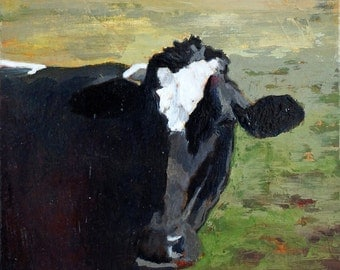 Cow Print of original oil painting 8.5 x 11 paper size Cow painting Cow Print Cow art Holstein cow picture Black and white cow painting