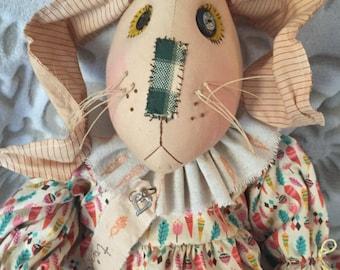 Art Doll Rabbit, Whimsical Primitive Rabbit, Handmade Primitive Bunny, Handmade Rabbit Doll, Rabbit Doll, Primitive Doll, Whimsical Rabbit