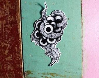 LITTEL BABIES with Clouds Mom Sticker - Reuse sticker,Black & White,Darkness,Eyeballs, dots, lines, Horror, Vinyl sticker