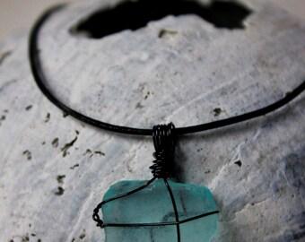 Turquoise Sea Glass & Black Wrapped Pendant