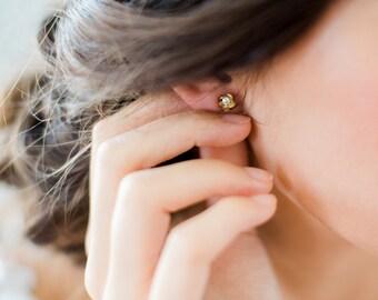 PIA petite glam bridal studs, small bohemian wedding earrings, boho glamorous gold bridesmaid gift