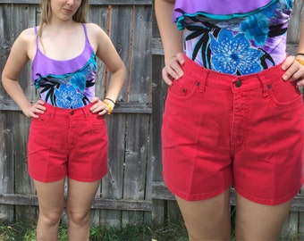 "SALE 1980s BILL BLASS Tomato Red High Waisted Jean Shorts Size S/M - 27.5"" Waist"