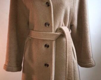 Vintage Evan Picone Camel Coat - Waist Coat - Silk Lining - Thick Winter Coat - Vintage 50s 60s