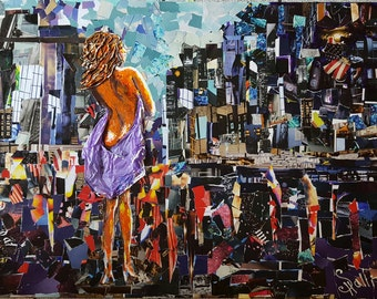 mixed media art, paper collage, original painting, city art, colorful collage, size 34 x 40 in