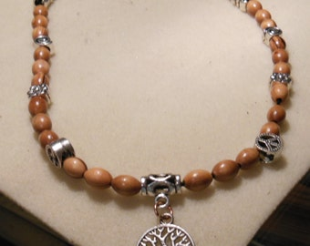 Tree of life charm necklace with wooden beads and charms