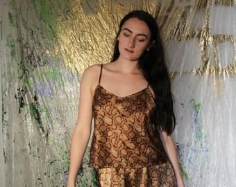 VTG Snakeskin Print Silk Pajama Set