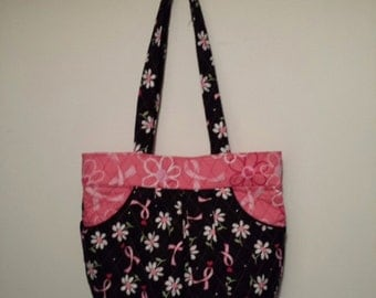 Black & White with Pink Breast cancer ribbons purse