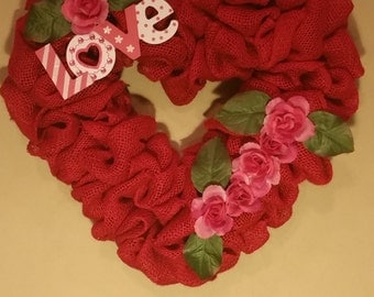 Heart shaped Valentines Day burlap wreath.