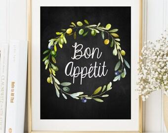Bon Appétit Print Kitchen print Kitchen decor Kitchen wall art Kitchen printable art Kitchen Poster French Olive wreath chalkboard print