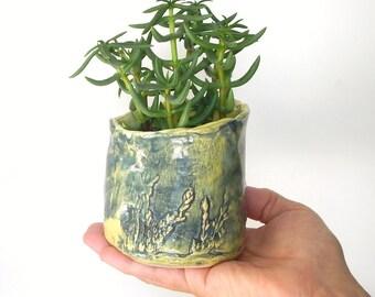 Ceramic Mini Planter Handmade Yellow Blue Pottery
