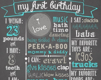 "First Birthday Chalkboard Sign 16x20"" Poster Balloons"