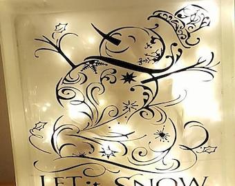 Snowman Let it Snow Lighted Glass Block