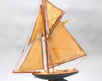 REDUCED 19th Century English Wooden Boat with Canvas Sails [746]