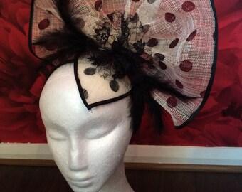 Polka dot Fascinator hat