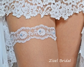 White Wedding Garter, Bridal Garter Set, Keep Wedding Garter, Blue Pearl Garter, Wedding Gift, White Lace Garter, Something Blue, Garter Set