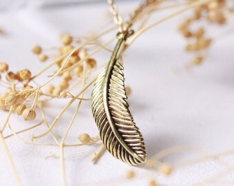 Feather Charm Necklace - Handmade Jewelry
