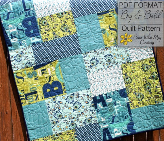 Baby Quilt Pattern, Fat Quarter Quilt Pattern, Big & Bold Baby ... : easy quilt patterns using fat quarters - Adamdwight.com