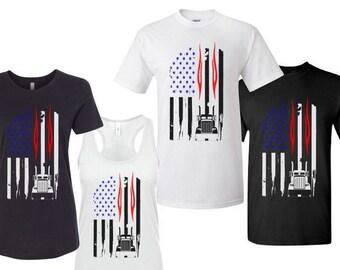 American  Flag Truck Tshirt / Mens Truck Tshirt / Womens Truck Tshirt / American Flag Tshirts / Heavy Haul Tshirts / Gifts For Dad