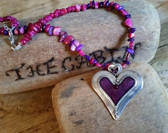 Purple heart and shell necklace
