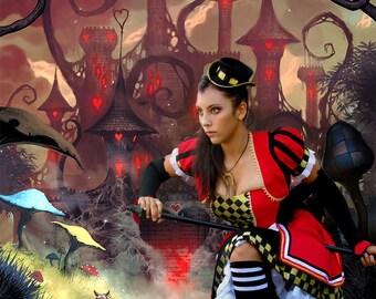 Alice in Wonderland Costume - Custom Design - Cosplay Alice Gown - Alice Dress - Queen of Hearts Costume -  Halloween Costume - Accessoires