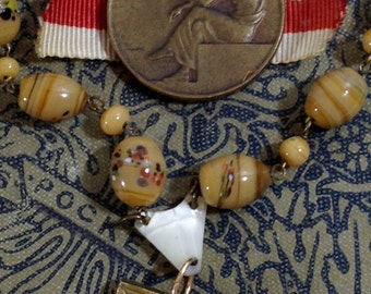 Reading Books Mother-of-pearl Brass Antique Assemblage Necklace