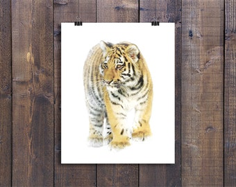 Tiger Watercolor Painting, Printable Wall Art, Animals Print Decoration, African Wildlife, Nursery Wall Decor, Tiger Watercolor Art Poster