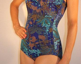 De Weese Design vintage one piece blue paisley pin-up swimsuit