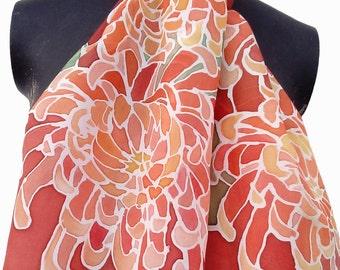 Hand painted silk skarf - Flowers 130 x 35 cm (51 x 14) inches