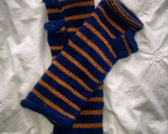 Hand knit striped fingerless gloves || 100% baby alpaca || choose your colors || extra long