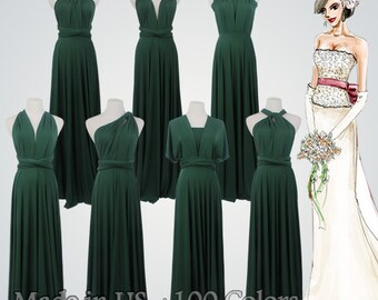Long Multiway Dress,Dark Green Dress,Multiway Dress With Long Straps,Backless Multiway Dress,Multiway Dress