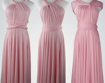 Pink bridesmaid dress, short pink Bridesmaid dress, Infinity dress, Romantic short dress, rose long infinity dress, Maxi dress,Wedding dress
