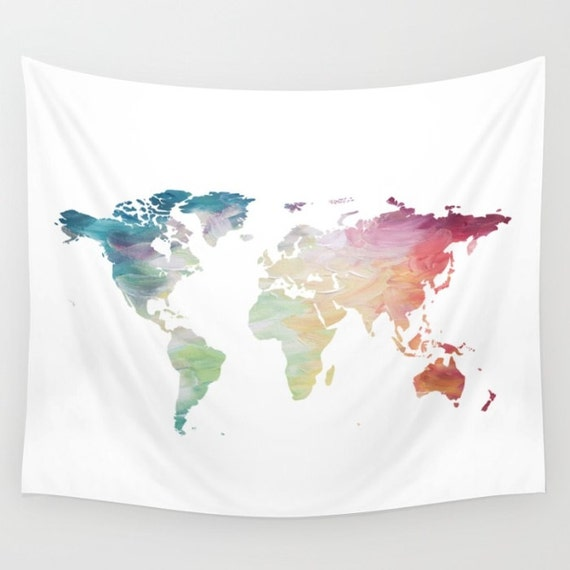 Map tapestry rainbow tapestry world map wall hanging globe like this item gumiabroncs Choice Image