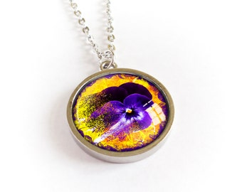 Pansy necklace, flower pendant, mat silver cabochon picture medallion, purple yellow image necklace, glass dome photo jewelry, gift for her