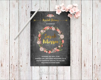 Chalkboard Bridal Shower Invitation Bohemian Bridal Shower Invitation Floral Bridal Shower Invitation Boho Bridal Shower Invite Printable