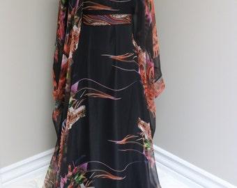 black and orange Dubai Designer Jalabyia Caftan by Laila's Jalabiya Online Shop