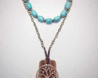 wood pendant, wooden necklace, tree charm necklace, handmade jewelry