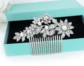 Bridal hair comb, Crystal Wedding hair comb, Pearl hair comb, Rhinestone hair comb, Bridal hair accessories, Pearl bridal comb 15162