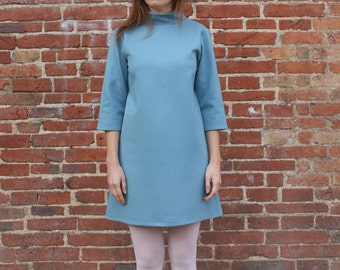 Sixties Dress, Blue Sixties Dress, Sixties Mini Dress