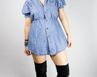 Vintage denim dress  Etsy