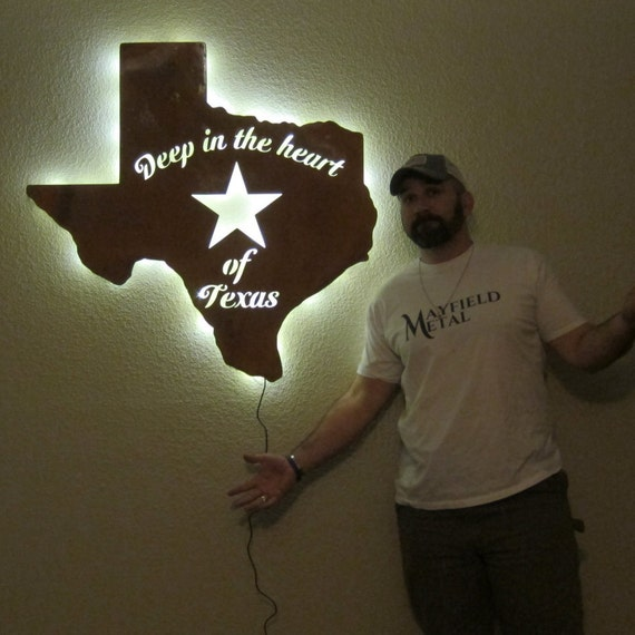 Texas Light, Sign, Wall Art, Metal Art, Lone Start State, Deep in the Heart of Texas